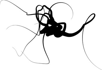 abstract curled shape in black silhouette over white