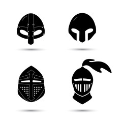Vector set of monochrome  knight helmets isolated