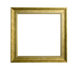 golden vintage photo frame on white background
