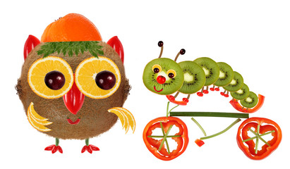 The little owl and a caterpillar on a bicycle made from vegetabl