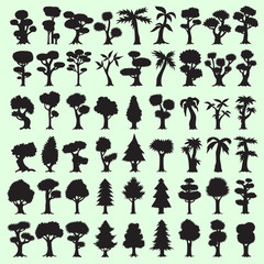 54 black trees silhouettes collection