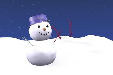 картинка снеговик в сугробе