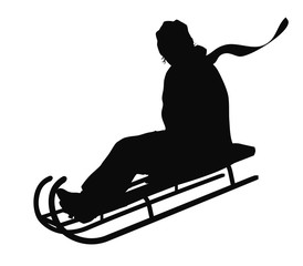 Girl sliding with sledge vector silhouette