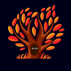 Vector art illustration of branchy tree with den. Two eyes of an
