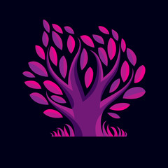 Vector illustration of stylized purple branchy tree. Ecology con