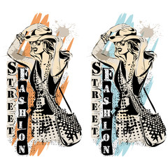 Fashion models in sketch style labels