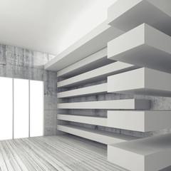 Empty white interior background, 3d render