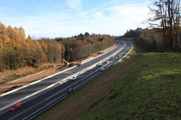 Autobahn mit Baustelle