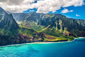 Poster United States View on Na Pali Coast on Kauai island on Hawaii