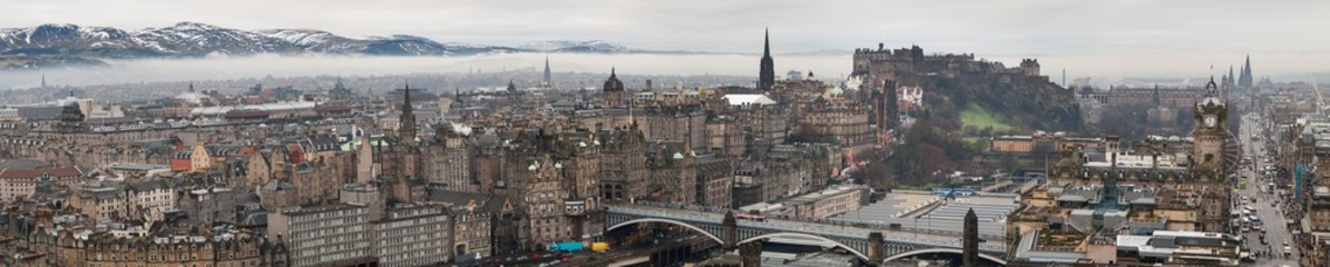 Beautiful large panorama of Edinburgh, Scotland, in winter