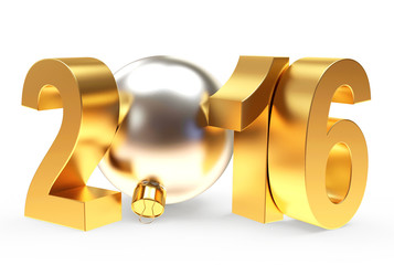 2016 New Year concept. Golden 2016 year and silver christmas ball isolated on white background