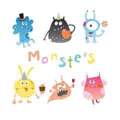 Cute cartoon monsters set. Vector image.