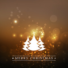 New Year And Christmas Card With Christmas Trees And Sparkling Blurred Background