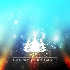 New Year And Christmas Card With Christmas Trees And A Sparkling Blurred Background