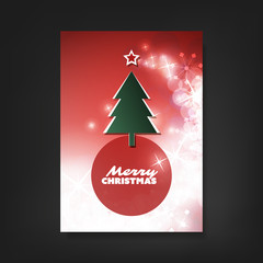 Christmas Flyer or Cover Design With Red Sparkling Background