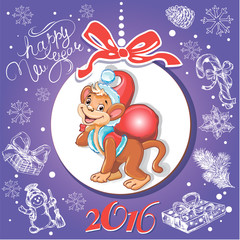 Card Happy New Year with a monkey