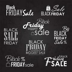 Black Friday Sale Calligraphic Designs set on blackboard