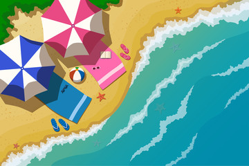 Vector illustration. Top view of the sea beach and the sea with the waves. On the beach under beach towels