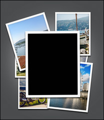 Empty photo frame,  travel photos background - clipping path