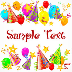Party decorations background with text, illustration