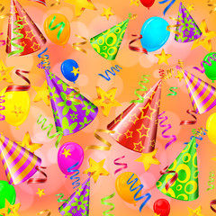 Party decorations on color background, illustration
