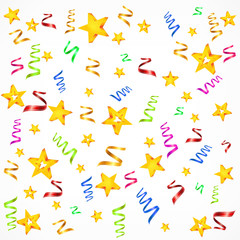 Party decorations background with stars and serpentine,