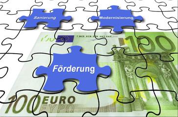"""Förderung 17 / Puzzle 100-Euro-Schein """"Förderung, Sanierung, M"""
