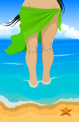 Vector illustration. Slim tanned women in green pareo comes out of the ocean to the beach