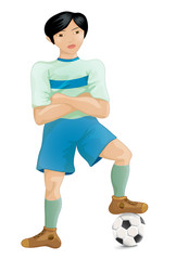 Soccer player of the South-East Asia pose a winner, cartoon character vector illustration