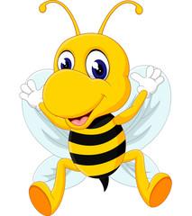 cute Bee cartoon flying of illustration