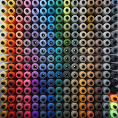 Rows of colorful sewing thread
