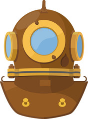 Vector illustration. Cartoon heavy diving helmet