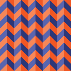 Vector modern seamless colorful geometry chevron lines pattern, color blue orange abstract geometric background, trendy multicolored print, retro texture, hipster fashion design
