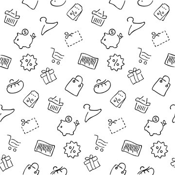 Shopping seamless pattern, vector background in thin line style