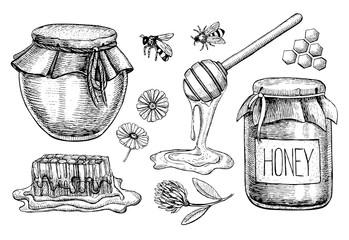 Vector honey set. Vintage hand drawn illustration