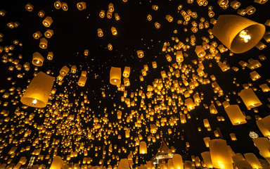 Loi Krathong and Yi Peng Festival , Chiang Mai, Thailand