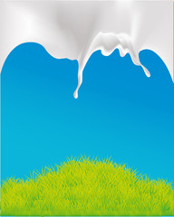 vector design with milk and green grass