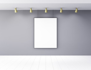 Blank picture frame in empty room with lamps and white wooden fl