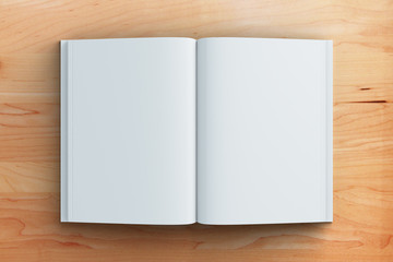 Blank pages of diary on brown wooden table, mock up