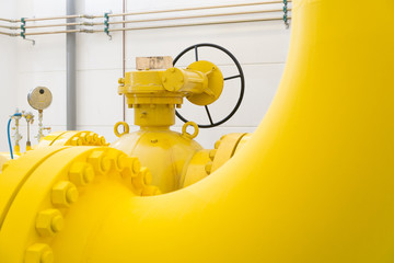 Close-up of yellow gas pipes