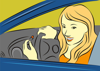 Young lady in a car