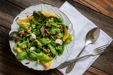 Green salad with tortilla chips