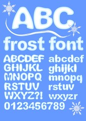 Alphabet in ice design. Uppercase, lowercase, numbers, exclamation and question mark for winter design. Snowflake shapes included. Grunge rounded characters in white and blue.