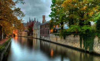 Brugge-River an der Croenerei  by dusk