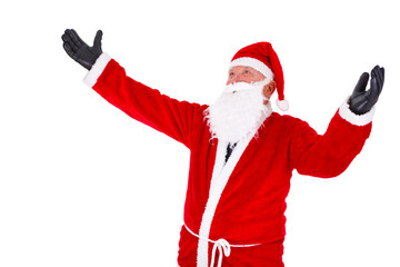 Santa Claus closeup Portrait with hands open in gloved. Isolated on White Background