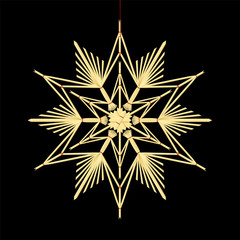 Straw star - old fashioned homemade xmas ornament hanging on a red thread. Isolated vector illustration on black background.