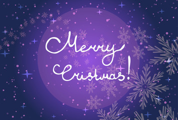 Vector illustration. The inscription Merry Christmas on a purple background with snowflakes.