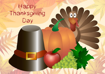 Vector illustration. Thanksgiving Day. Hat, pumpkin, turkey, apples and grapes isolated on a background of autumn leaves.