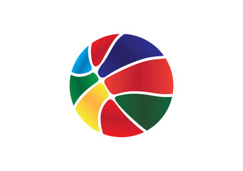 Colorful Basket Ball/Vector Basket Ball.Eight shapes with rounded corners inside and gradient.