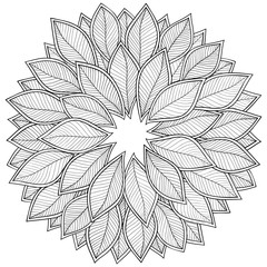 Pattern for coloring book. Leaves.